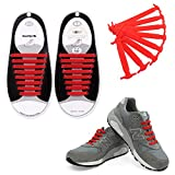 Talent Fashion No Tie Shoelaces for Kids/Adult Tieless Elastic Silicone Shoelace, Adult Red