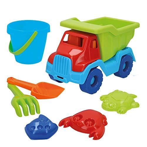 ColorBaby - Set playa Camión y cubo con accesorios, Color Beach (43505)