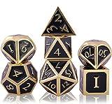 Schleuder Juego de Dados de rol Dice Set, DND Dados de Metal RPG D&D Poliédricos para Dragones y Mazmorras, Juegos de Mesa y Juegos de rol (Imitation Gold - Black)