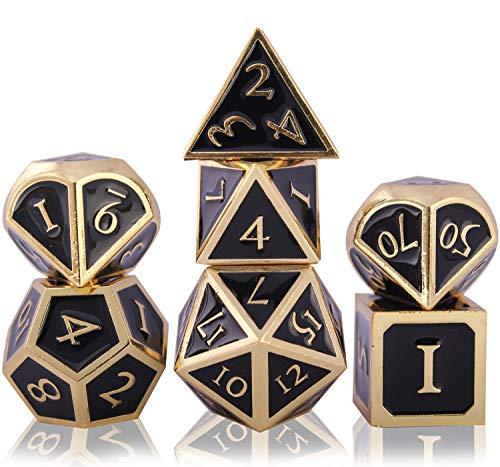 Schleuder Set di Dadi D&D Metallo DND, 7 Dice Set Poliedrici per Dungeons And Dragons, Gioco di Ruolo da Gioco Tavolo per Rpg Pathfinder Insegnamento della Matematica (Imitation Gold - Black)