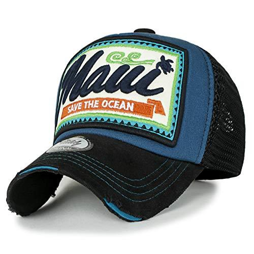 ililily Maui Stickerei Flicken Freizeitkleidung Netz Baseball Cap abgenutztes Aussehen Trucker Cap Hut, Blue Green