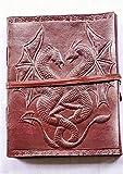 DOPPELTER DRACHE 5X7 DORI UOG Handgemachtes Tagebuch mit Drachen aus Leder