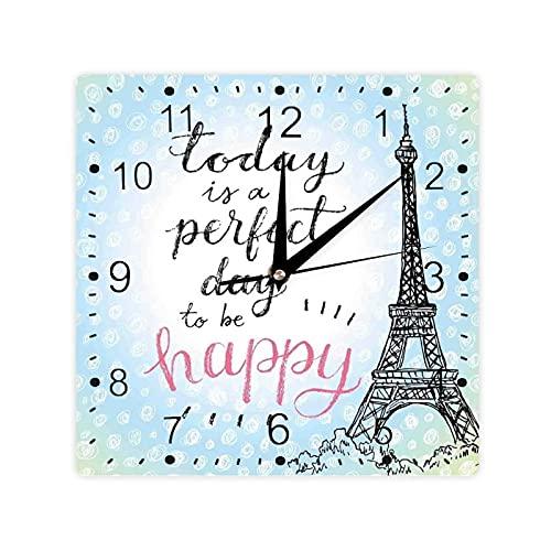 Perfect Day Torre Eiffel Lunares Escritura a mano Tipografía Sketch Paris Print Color Square Morden Reloj Slient