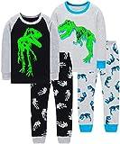 Boys T-Rex Dinosaurs Pajamas Christmas Children Glow in The Dark Clothes Sleepwear Size 6