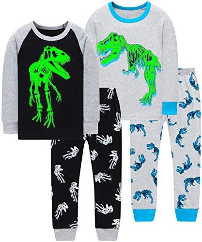 Boys T-Rex Dinosaurs Pajamas Christmas Children Glow in The Dark Clothes Sleepwear Size 5