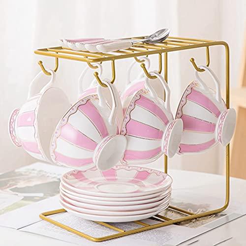 Juego de 6 tazas de té y platillos chinos hechos en hueso, con cuchara, 6 unidades, para el hogar, restaurante, hogar, rosa, con soporte (6 juegos)