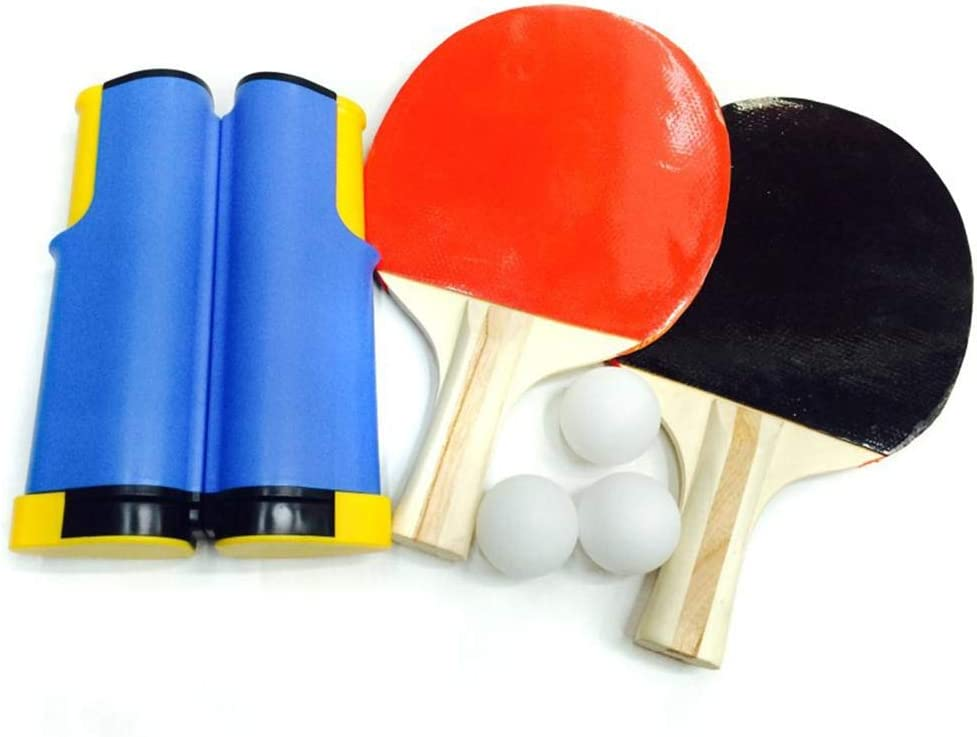 Juego de Entrenamiento de Tenis de Mesa Portátil retráctil Red de Tenis de Mesa 2PCS Pingpong Paddle 3PCS Ball Indoor Outdoor Ping Pong Supplies