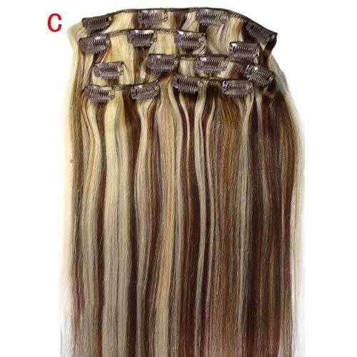 URSING 20inch Clip Dans Remy Real Hair Extensions Pleine Tête Charmante Cheveux 7 ensembles de pinces, de véritables pinces à cheveux, pinces à cheveux de 20 pouces, pinces