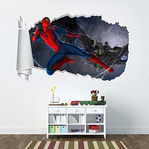 Wall Sticker Super Movie Spider Movie 3D Torn Hole Wall Sticker Decal Art Deco