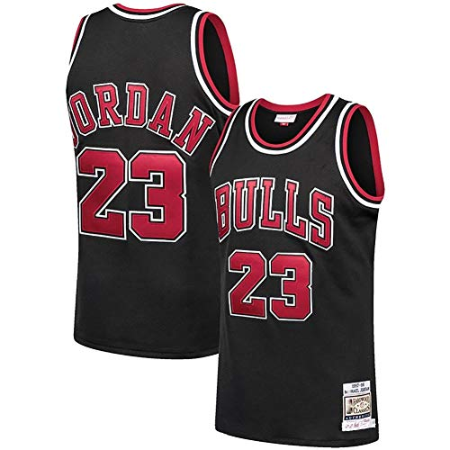 Men's #23 Jordans Jersey-Retro Polyester Mesh Sports Shirt S-XXL White/Black/Red-black1-M