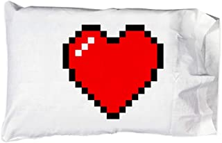 Hat Shark Pillow Case Single Pillowcase - 8-Bit Heart Video Game