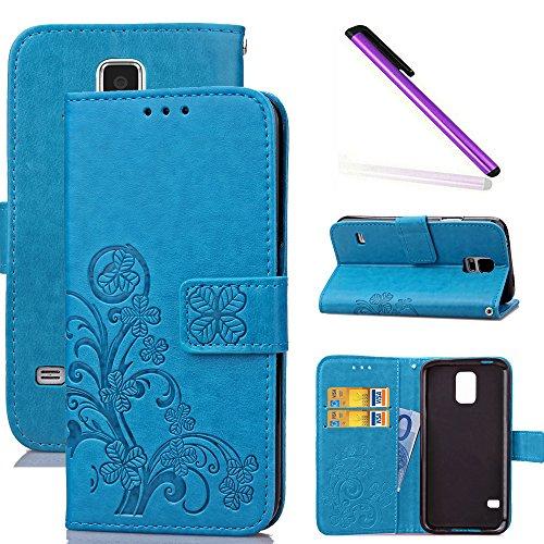 COTDINFOR S5 Mini Custodia Cover Elegante Retro Donna Clover Embossing PU in Pelle con Wallet Card Holder Flip Custodia per Samsung Galaxy S5 Mini Clover Blue SD