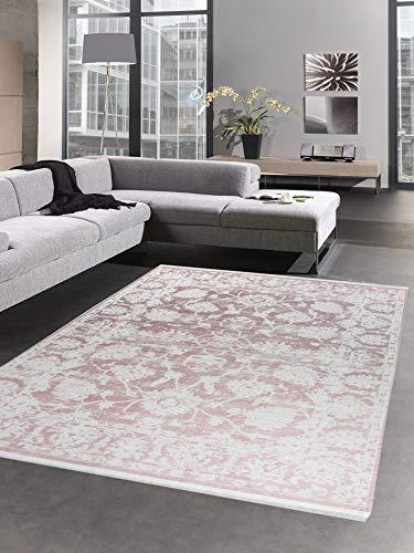 CARPETIA Alfombra Oriental Alfombra de salón barroca Vintage Rosa con Flecos Größe 200 x 290 cm