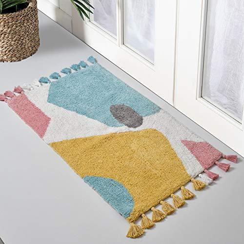 UMI by Amazon - Alfombra de baño de 100% algodón, con borlas, extra absorbente y suave, para colocar en la parte delantera de la ducha, tocador, bañera, lavabo y inodoro, 50 x 80 cm, multicolor