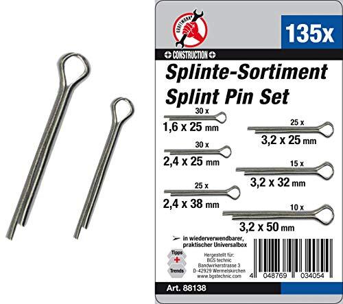 Kraftmann 88138 | Splinte-Sortiment | Ø 1,6 - 3,2 mm | 135-tlg.