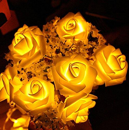 I LOVE DIY 2.5 Mètres 20-LED Guirlande Lumineuse Forme de Fleurs Rose (Jaune)