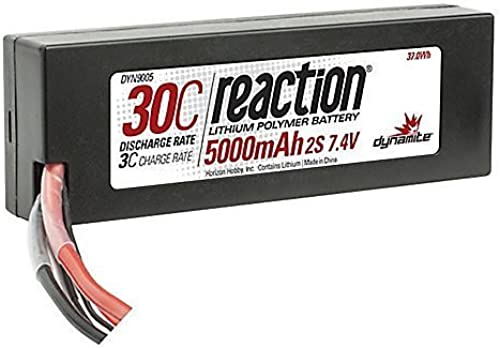 Reaction 7.4V 5000mAh 2S 30C LiPo Hard Case Deans by Dynamite