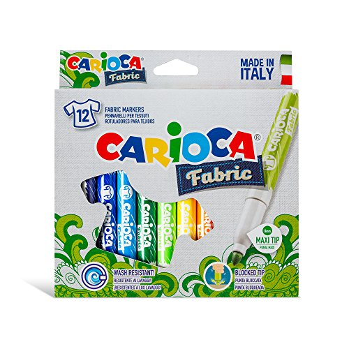 Carioca Fabric Textil | 40957 - Caja de Rotuladores con Punta Maxi para Telas / Tejidos, 12 Colores