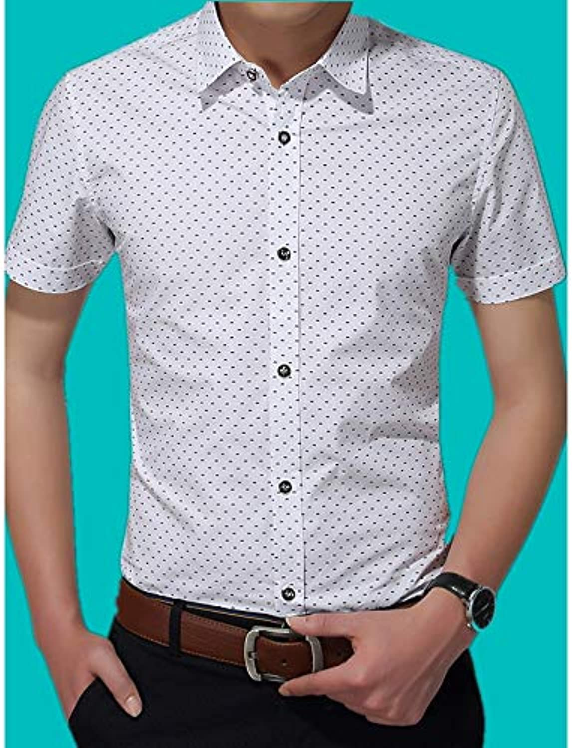 Men's Shirt  Solid colord Geometric Letter Print
