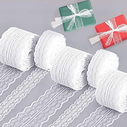Vitt spetsband, 5 rullar vintage spetskant för sömnad/trimning, bred blommig spetsrulle för brud bröllop jul påsk uddig kant broderad dekoration kort hantverk gör-det-själv (50 m)