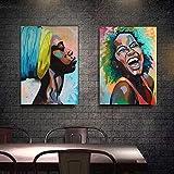 KWzEQ Pintura sin Marco Retrato de Mujer Africana Impresión de Lienzo Carteles e Impresiones Arte de Pared escandinavoAY7159 30X45cmx2