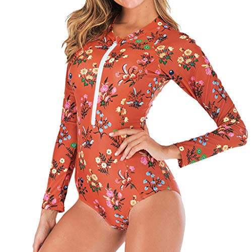 MOTOCO Damen Badeanzug Tauchanzug Sexy Siamese Swimsuit Spa Sleeveless Slim Surfing Diving Bademode(L(36),Rot)