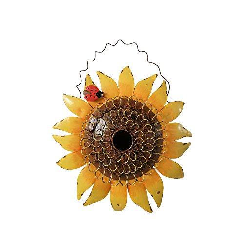 Metal Sunflower Bird House for Outside Hanging Decorative Hand-Painted Birdhouse Yard Garden Decor 12'X12'X4'