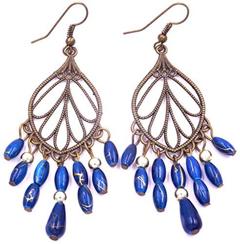 Générique Boucles d'oreilles Ethnique Bijoux Bohème Chic Pendantes Métal Inde Indiennes Artisanal Bleu