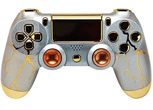 Gold Thunder PlayStation 4 V2 (new version) Rapid Fire Modded Controller for COD Black Ops3, Infinity Warfare, AW, Destiny, Battlefield: Quick Scope, Drop Shot, Auto Run, Sniped Breath, Mimic +