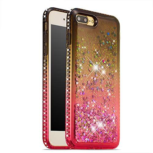 CrazyLemon Hülle for iPhone 7 Plus iPhone 8 Plus, Funkelnd Treibsand & Voll Side Strass Design Schwarz + Pink Weich Silikon TPU Handyhülle für Frauen