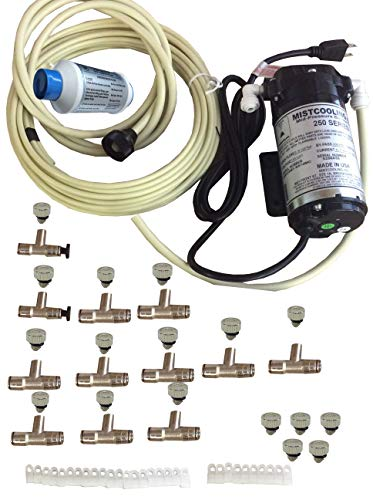 mistcooling Patio Misting System - 160psi Mid Pressure Patio Misting System - 12 Nozzles Misting System - with Push to Connect Fittings - Brass/Stainless Steel Misting Nozzles