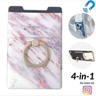 New 4-in-1 Stick-On Spandex Ring Wallet for iPhone 11, XR & Any Phone + Magnetic + Finger Grip + Kickstand - Best Stretchy Card Holder Sticker, Sticks to Case (11 Pro Max XR XS X etc.) (Pink Marble)