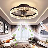 """19.7"""" Ceiling Fan With Light And Remote Control,Modern Flush Mount Ceiling Fan Light Kit,Round Hidden Reversible Blades Household Fan Chandelier With 3 Colors 6 Speeds Timing Low Profile Fan (Brown)"""