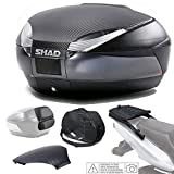 Kit-shad-1737 - Kit fijacion y Maleta baul Trasero Gris Oscuro + Respaldo + Bolsa + Tapa sh48 Compatible con Suzuki gsf Bandit 750 1996-1997 Suzuki gsf Bandit 1200 1996-2000