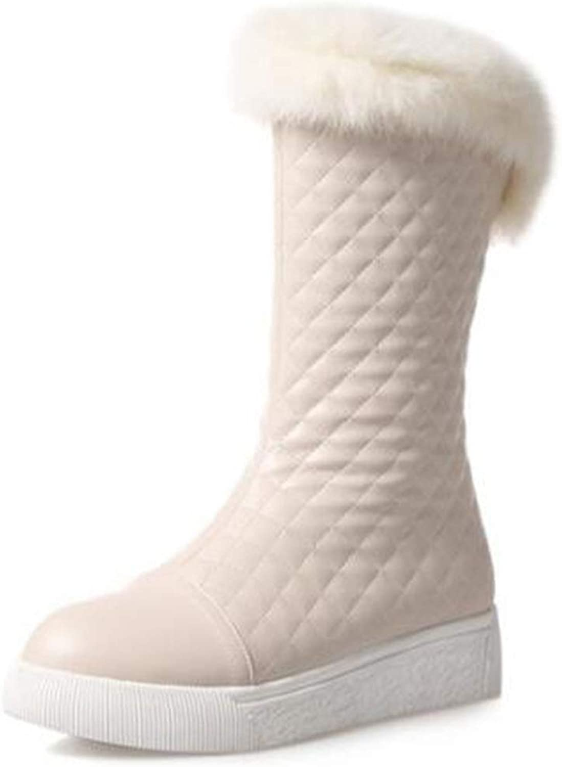 TWGDH Outdoor Tall Boots Winter Waterproof Warm Fur Lined shoes Mid-Calf Chunky Heel Quilted Breathable Slip On Snow Boots for Women