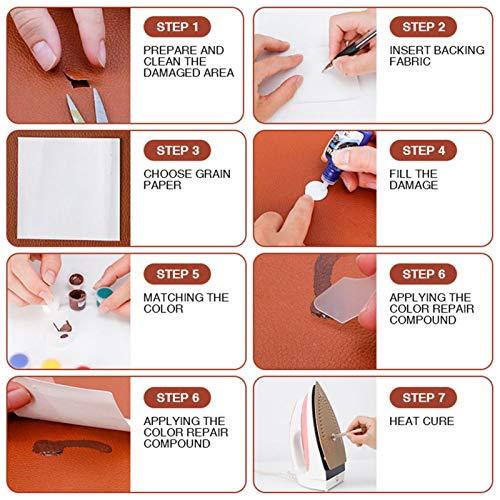 YEES Kit de reparación de piel para coucherías de cuero, vinilo, práctico adhesivo para asientos de coche