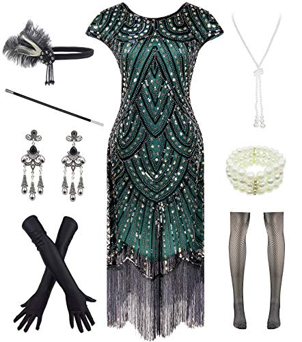 Women 1920s Vintage Flapper Fringe Beaded Gatsby Party Dress with 20s Accessories Set (S, Style 2-Gold Green)