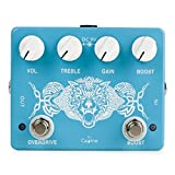 Caline Overdrive Guitar Effect Pedal - inspired by the classic Tube screamer pedal with the power of an added boost switch. It has a transparent and smooth tone