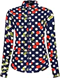DOKKIA Women's Tops Feminine Long Sleeve Polka Dot Button Down Work Dress Blouses Shirts (X-Large, Navy Blue Cherry Polka Dot)
