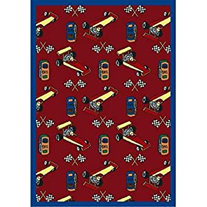 Joy Carpets Playful Patterns Children's Pit Stop Area Rug, Red, 7'8″ x 10'9″