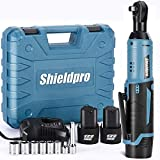 Shieldpro Cordless Electric Ratchet Wrench Kit,40Ft-lb 3/8'Power Ratchet Wrench 1-Hour Fast Charge,2 Packs 2000MA Lithium-Lon Battery,1/4 Adaptor,Extension Bar