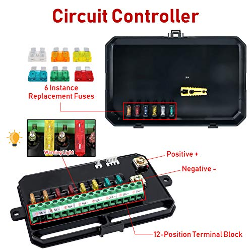 6-position Push Button Switch Panel Universal Circuit Control Box Electronic Relay System Circuit Control Box Fuse Relay Box Wiring Harness Assembly For Truck Boat Marine Auto Jeep ATV UTV SUV Car
