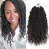 5packs NEW Goddess Locs Crochet Hair 14 Inch River Fauxs Locs Wavy Crochet With Curly Hair In Middle And Ends Boho Hippie Locs Synthetic Braiding Hair Extension (14 inch, 1B)