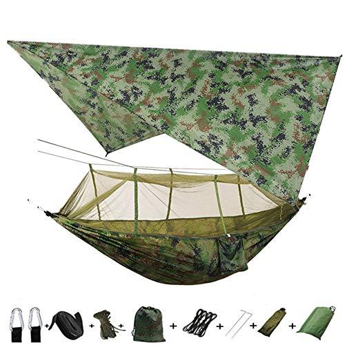 Hamac de Camping avec bâche de Tente et moustiquaire, Ensemble de hamac Portable Double Parachute Simple extérieur imperméable à l'eau pour Le Camping, la randonnée, la randonnée