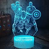 Los Rächer Marvel Comics Iron Man Spiderman Capitán América 3D LED luz nocturna juguetes de Navidad Escritorio lámpara dormitorio decoración