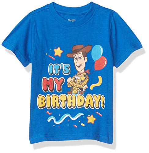 Disney Toy Story Boy's It's My Birthday Party Outfit Tee Shirt, 100% Cotton, Blue, Size 3T