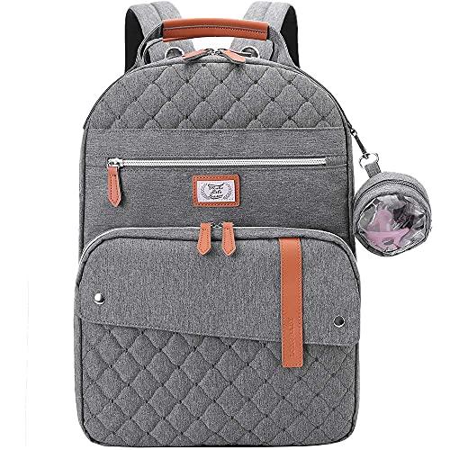Lekebaby Wickelrucksack Baby Wickeltasche Große Babytasche Reisetasche für Unterwegs, Grau