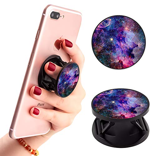 Ufbara Phone Finger Expanding Stand Holder Kickstand Hand Grip Widely Compatible with Almost All Phones Cases (Galaxy Pattern)