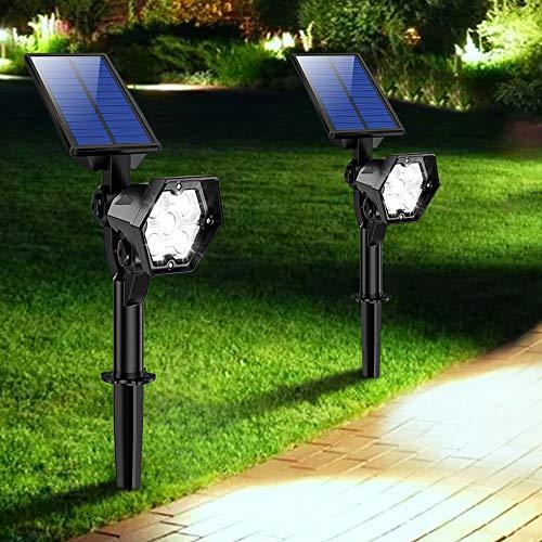 【2020 Nuevo】 Lámpara Solares Exterior, 3 Modos de Brillo Focos LED Exterior, Impermeable IP65 Focos Solares, Ajuste de Ángulo Múltiple, Auto On/Off Luces Solares, para Césped, Pared, Porche (2Pcs)