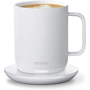 NEW Ember Temperature Control Smart Mug 2, 10 oz, White, 1.5-hr Battery Life - App Controlled Heated Coffee Mug - Improved Design